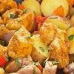 Gebakken aardappels met kip en paprika