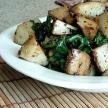 Geroosterde aardappelen met spinazie
